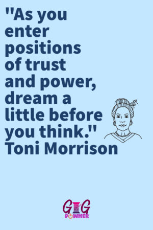 The purpose of the image is to show a Toni Morrison quote liked by the fictional character.