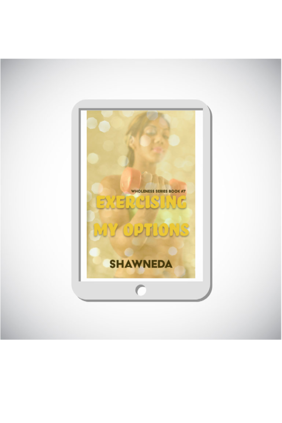 eReader with Exercising My Options cover on the screen