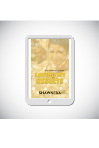 eReader with Loving My Results cover on the screen