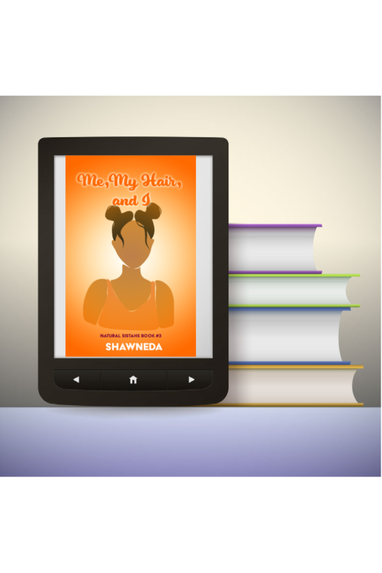 eReader with Me, My Hair, and I on book cover on the screen