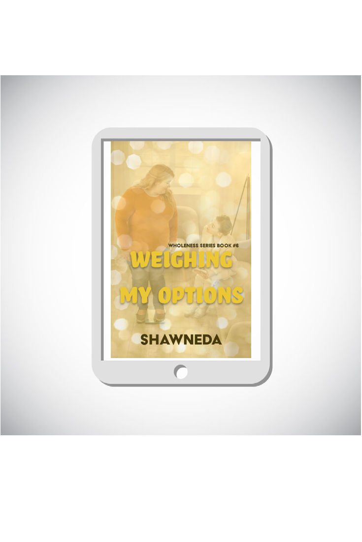 eReader with Weighing My Options cover on the screen
